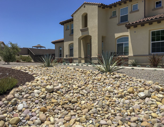 Mission landscape cobblestone pebble installed in backyard dry river bed
