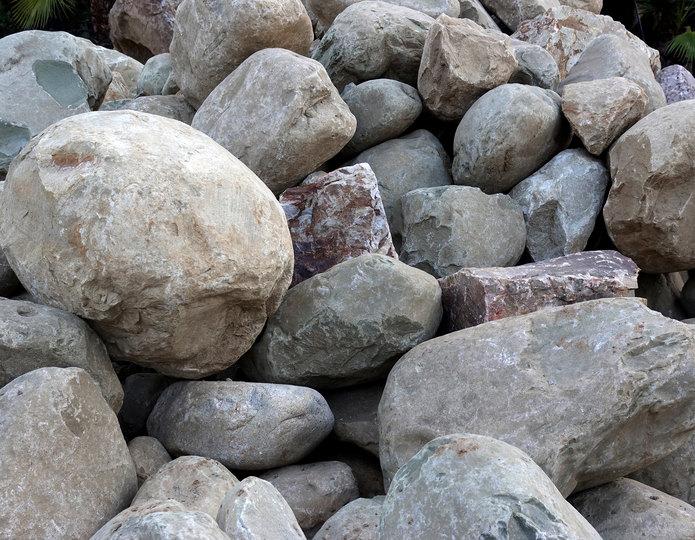 Malibu landscape boulder pile in rock yard