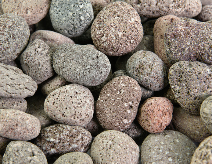 Red Mauna Loa landscape pebble in bulk at rock yard