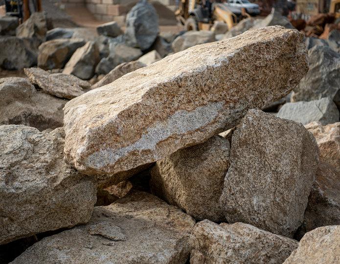 Desert Gold landscape boulders in rock yard