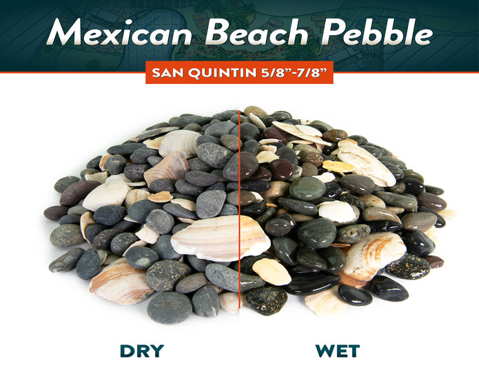 Mexican beach pebble san quintin dry and wet comparison