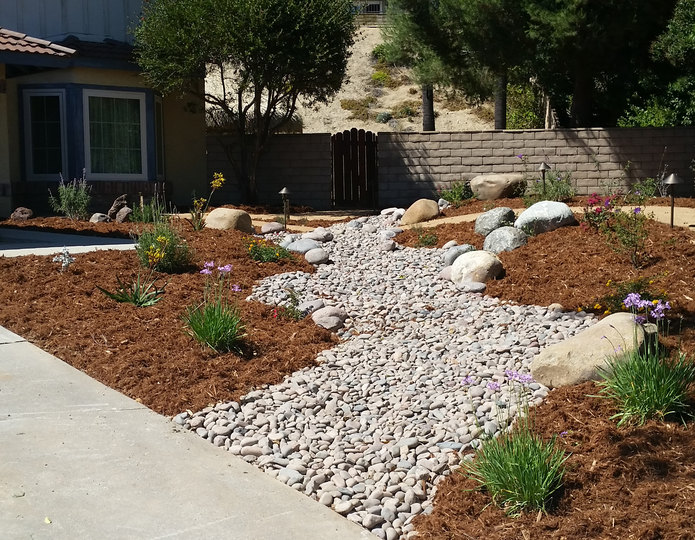 Gorilla hair shredded redwood mulch installed with cobblestone and boulders in front yard project
