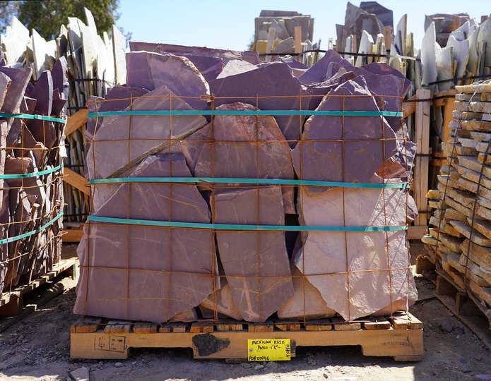 Mexican Rose natural flagstone patio pavers in bulk at rock yard 2
