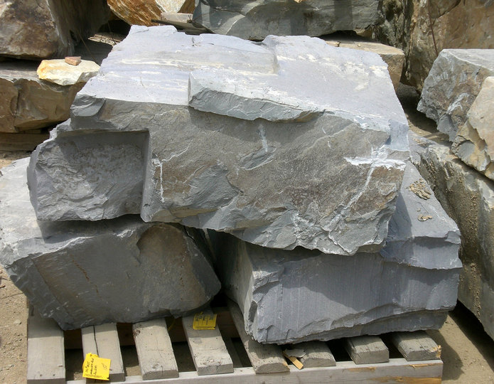 Sacramento Blue landscape boulders on pallet in rock yard