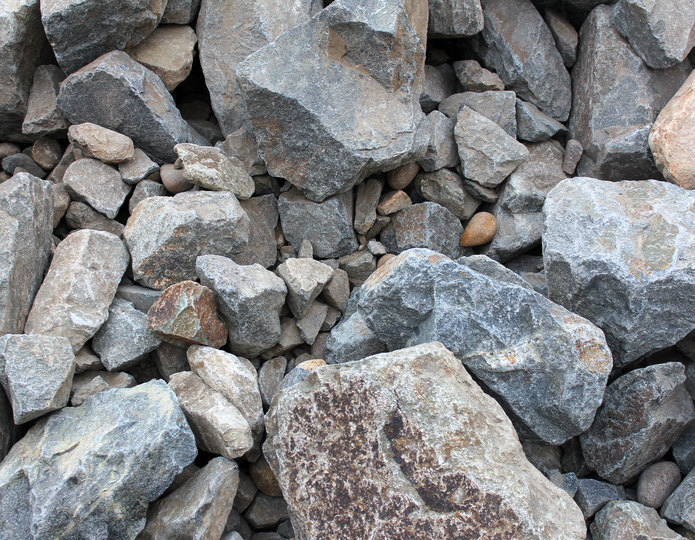 Rip Rap construction rock in bulk at rock yard