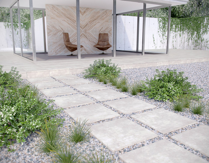 Arterra Porcelain Pavers Walkway towards modern building